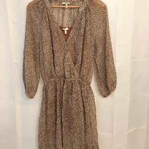 Joie Brown Printed Silk Long Sleeve Dress
